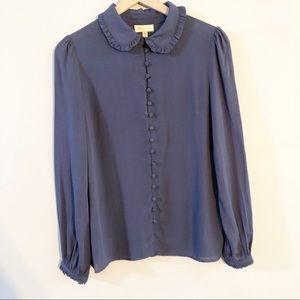 ModCloth Ruffle Collar Button Down Blouse Medium